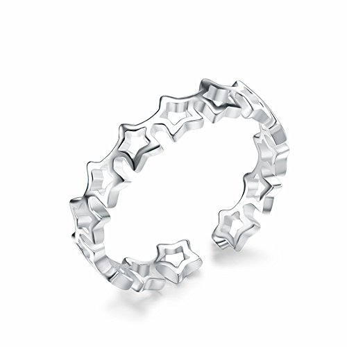 LOCHING Fashion Cute Hollow Star 925 Sterling Silver Ring Adjustable size Open Ring