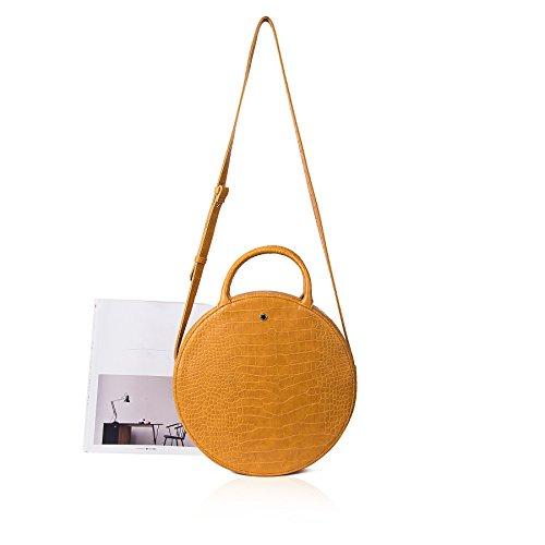 Mustard E2irV0Nybo Crocodile Women's Lovely Tote Fashion The Crossbody Circle Bag HgazX