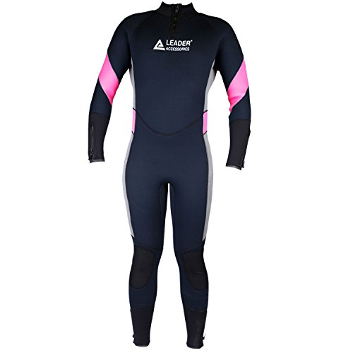 Leader Accessories Women's 5mm Black/Pink/Gray Medium Wetsuit for Scuba Diving Fullsuit ()