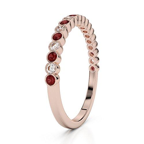 Or Rose 18carats 0,18CT G-H/VS Certifié Coupe ronde Grenat et diamants Agdr-1101