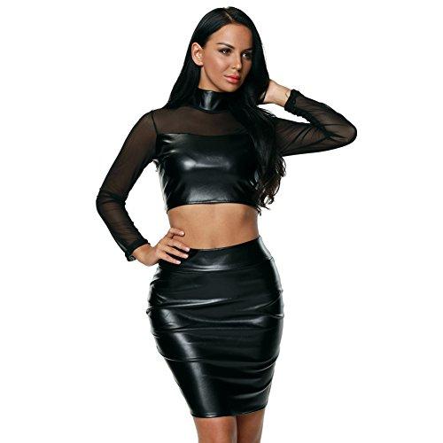 LikeYOU Womens Mesh Leather Style 2pcs Skirt Set M (Fish Net Arm Sleeves)