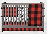 AllTot Crib Bedding Set- Forest Adventure - 4 Piece Boy crib bedding set in Red and Black Buffalo Plaid Pine Trees With Crib Bumper - Handmade in The USA