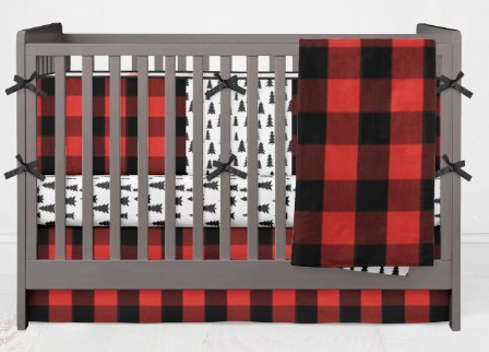 AllTot Crib Bedding Set- Forest Adventure - 4 Piece Boy crib bedding set in Red and Black Buffalo Plaid Pine Trees With Crib Bumper - Handmade in The USA by Alltot