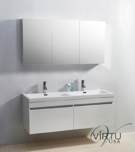 Virtu USA Zuri 55 inch Double Sink Bathroom Vanity Set in Gloss White w/Integrated Square Sink, White Polymarble Countertop, Single Hole Polished Chrome, No Mirror - JD-50355-GW - Double vanity, gloss white finish; Low maintenance high gloss polymarble countertop with integrated basins Constructed of plywood and composite with melamine; Water resistant low V.O.C. sealer; Minimal assembly required Cabinet 54.7 Inches W x 19.9 Inches D x 21.9 Inches H; 2 drawers with adjustable soft-closing slides; Mirror not included - bathroom-vanities, bathroom-fixtures-hardware, bathroom - 41nt7EzVD3L -