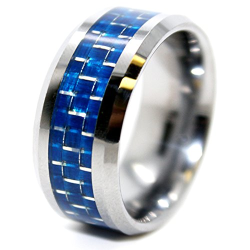 Satin Mm 10 Ring - Unique 10mm Tungsten Carbide Ring with Blue Carbon Fiber Inlay Wedding Band Size 11.5 (11 1/2)