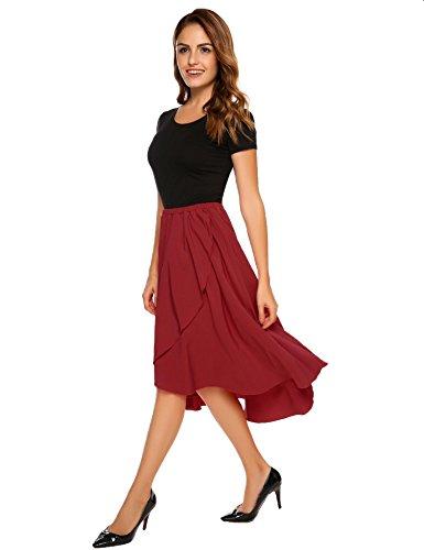 d702290bbf4c78 Shine Women's High Waisted A Line Street Skirt Skater Pleated Full Midi  Skirt Long Length