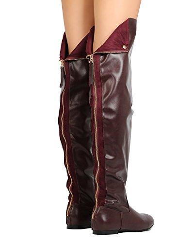 Frauen über das Knie flache Stiefel Snap Manschette zurück Reißverschluss Mode lange Stiefel Wein