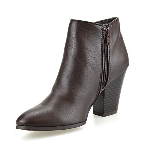 Mid Block Biker Shoes Heel Womens Brown Up Ankle West Cowboy Nine Boots Chelsea Zip HwxEy