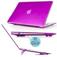 Estuche de cubierta dura de mCover iPearl con cubierta de teclado GRATIS para Apple MacBook Air de 13.3 pulgadas A1369 y A1466 - PÚRPURA