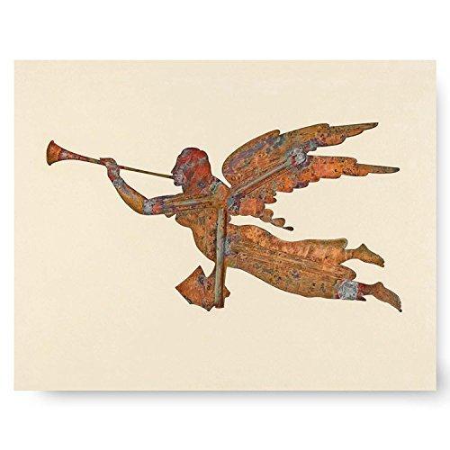 Angel Wall Decor, Religious Folk Art (Rustic Cottage Artwork, Angel's Wings Print) 1930s