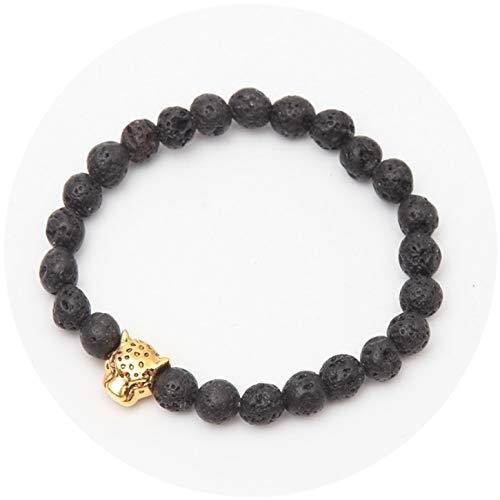 Mix Color Antique Plated Lion Leopard Head with Matt Lava Black Natural Stone Beads Bracelet ()