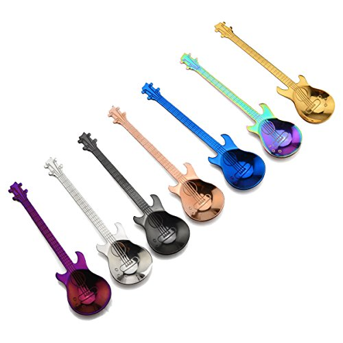 LONGLISHENG 4 Piece Demitasse Spoons Mini Dessert Spoon 4.5 Inch Stainless Steel Colorful Guitar Tea Spoon