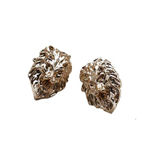 Pin Head Lion (Buorsa 5 Set Gold Tone Lion Head Shirt Suit Collar Pin Brooch Tips Badge Brooches Men Women Jewelry)
