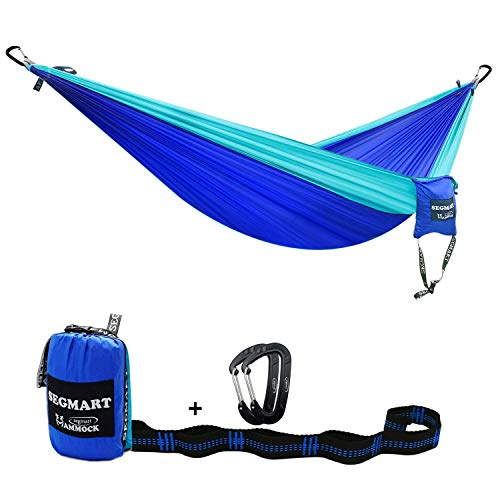 SEGMART Double Hammock with Two Tree Straps & Carabiners, 600lbs (Blue/Light Blue)