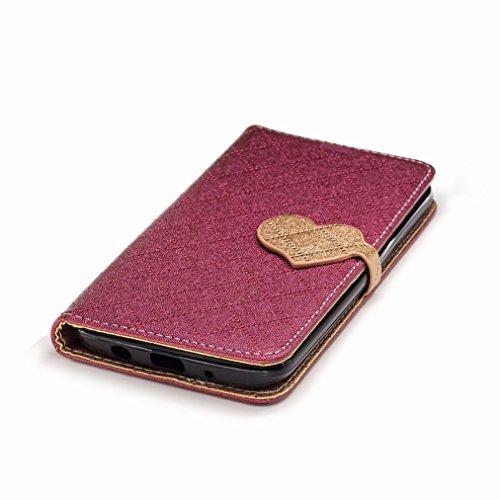 Yiizy LG K7 / X210 / X210DS / MS330 Custodia Cover, Amare Design Sottile Flip Portafoglio PU Pelle Cuoio Copertura Shell Case Slot Schede Cavalletto Stile Libro Bumper Protettivo Borsa (Rosso)