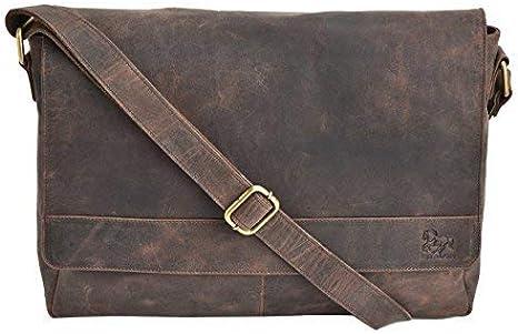 Womens Mens Real Leather Briefcase Messenger Shoulder Office Laptop Bag RRP£149
