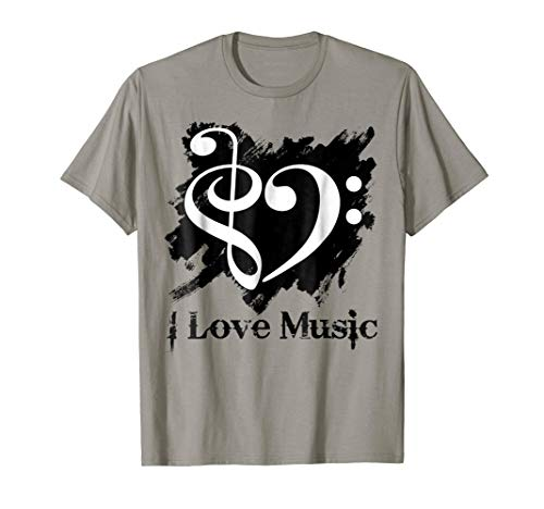 Treble Clef Bass Clef White Heart Grunge Brush Strokes Music Lover Bassist T-Shirt