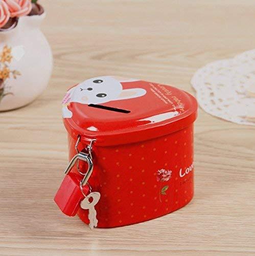 - JINGB Delicate Heart-Shaped Piggy Bank Premium Tinplate Storage Box with Lock (Red) Desktop Decor Money Box