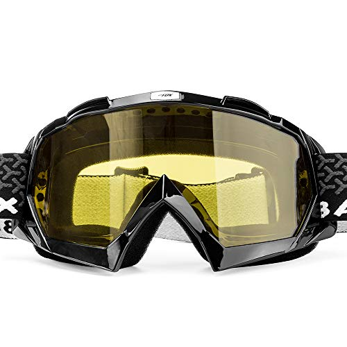 - BATFOX Motorcycle Goggles Dirt Bike ATV Motocross Safety ATV Tactical Riding Motorbike Glasses Goggles for Men Women Youth Fit Over Glasses UV400 Protection Shatterproof (yellow lens/black frame)