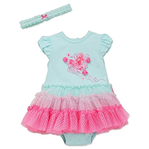 Little Me Butterfly One Piece Tutu Popover Dress with Headband Aqua 9 Months
