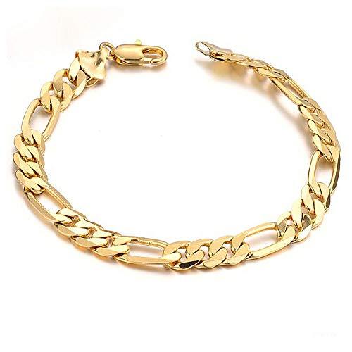 OPK Jewelry18k Gold Plated Powerful Men's Bracelet Figaro Link Chain Gold Bracelet for Men,8.27inch