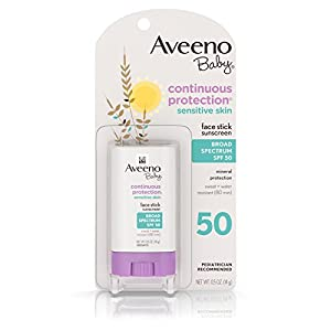 Aveeno Baby Continuous Protection Face Stick Sunscreen With Broad Spectrum Spf 50 Containing Mineralguard, .5 Oz. (Pack of 3)