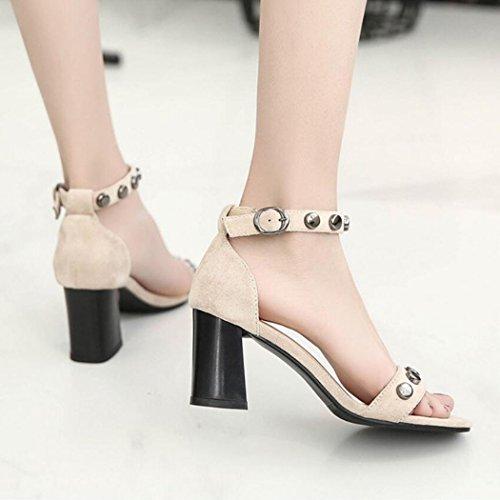 correa suelas de alto Rivet GAOLIXIA de Peep Toe zapatos Mujer las ante correa del T tobillo tacón bombas sandalias del Beige de la WwH6Tq0