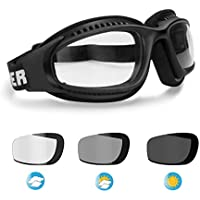 Motorcycle Goggles for Helmets - Photochromic Ventilated...