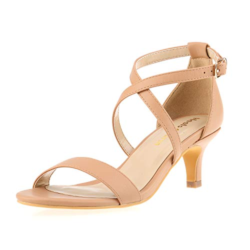 Women Stiletto Open Toe Cross Strappy Heeled Sandals 2 Inch Ankle Strap High Heels Dress Shoes Nude Size 8