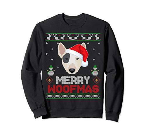 (Xmas Bull Terrier with Santa Hat Christmas Ugly Sweatshirt)