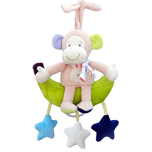 Baby Hanging Bell Wind-up Musical Stuffed Animal Stroller Crib Hanging Bell with Music Box Plush Toy Gift for Infant