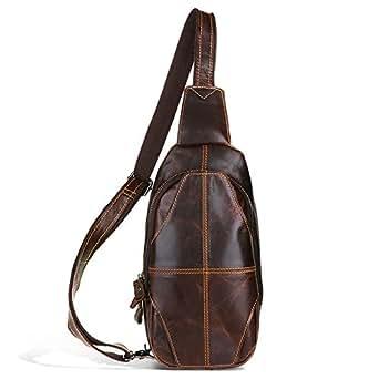 Mens Bag Fashian Man's Leather Long Section Single Shoulder Multi-function Messenger Handbag Shoulder Bag High capacity (Color : Brown)