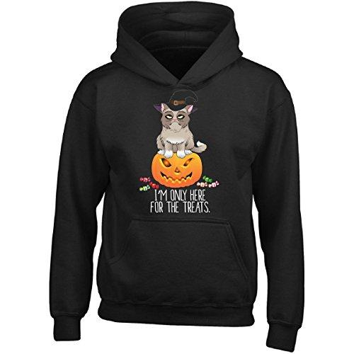 Funky Cat Costume (Cat On Pumpkin - Funny Halloween Fall Costume - Girl Girls Hoodie Kids M Black)