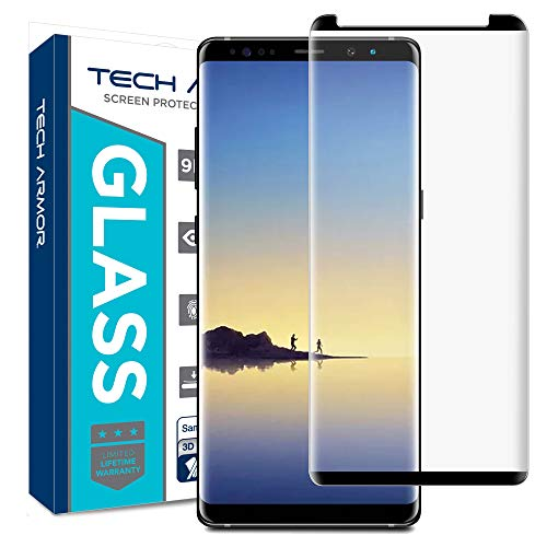 Tech Armor Samsung Galaxy Note 8 Glass Screen Protector from, 3D Curved Ballistic Glass, CASE-Friendly, Black - [1-Pack]