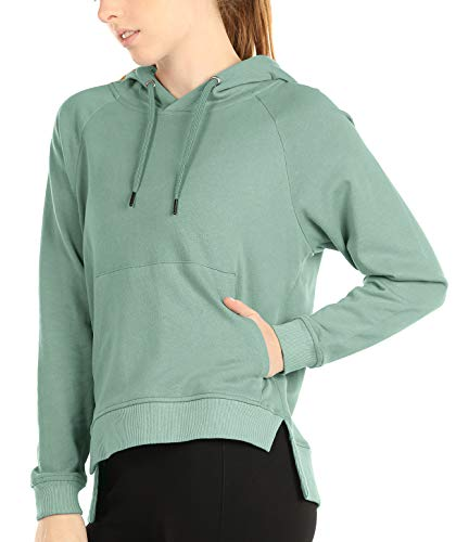 icyzone Hoodies for Women - Workout Athletic Sweatshirts Exercise Long Sleeve Pullover with Kangaroo Pocket (M, Cameo Green)