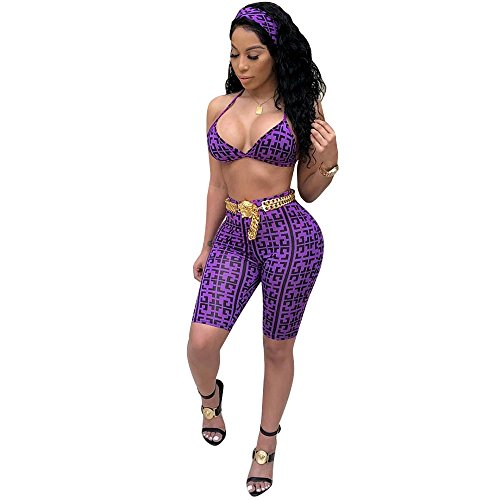 AEL Sexy 3 Piece Outfits for Women Halter Bra Top Shorts Set Outfits Jumpsuit with Headbands (Purple, ()