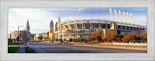 Easy Art Prints Panoramic Images's 'Low Angle View of Baseball Stadium, Jacobs Field, Cleveland, Ohio, USA' Premium Framed Canvas Art - 24