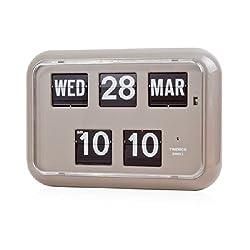 twemco Homeloo German Quartz Retro Modern Calendar Wall Flip Clock QD 35 (Gray)