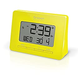Oregon Scientific RM938 Yellow Alarm Atomic Clock for Office Home College Dorm Desk