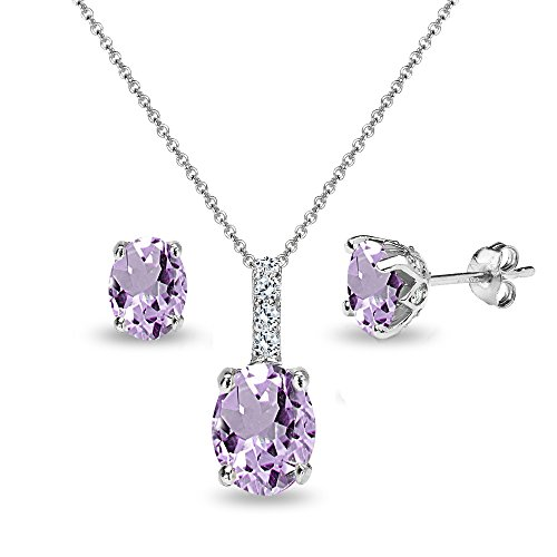 Sterling Silver Amethyst and White Topaz Oval Crown Necklace & Stud Earrings Set