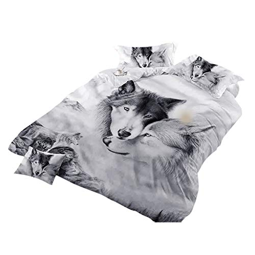 competitive price 1d74c 2caa2 Karamoda-Home Wolf Couples Moon Bedding Kids 3D Bedding Cool Grey Wolf  Duvet Cover Set