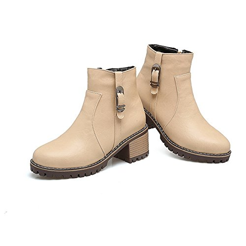 Heel Leather Womens Smooth Beige Waterproof Kitten Warm Top High All Boots Zip Urethane 1TO9 Bootie MNS02629 Road Boots Weather Lining YdPwvqv