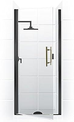 Paragon Series Semi Frameless continuo de bisagra para puerta de ducha (22 en [W] X 65 en [H]) con escalera Tirador en acabado cromado con cristal transparente | Coastal puertas de ducha: