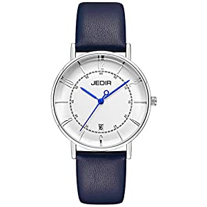 JEDIR Womens Watch Classic Simple Quartz Wristwatches Big Dial Calendar Number Stainless Steel Mesh& Soft Calfskin Leather Band