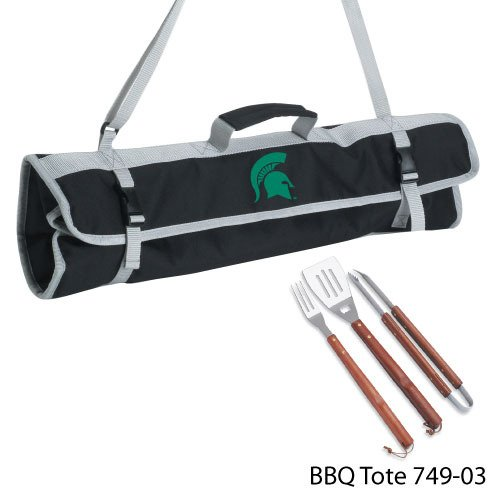 (NCAA Michigan State Spartans 3-Piece BBQ Tool Set With Tote)