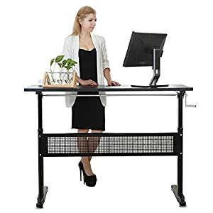Win Up Manual Height Adjustable Sit Standing Up Desk With Crank Handle
