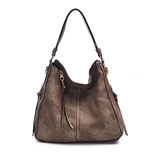 DDDH Hobo Handbags Leather Purses Large Tote Shoulder Bags Vintage Bucket Bag For - Purse Leather Vintage