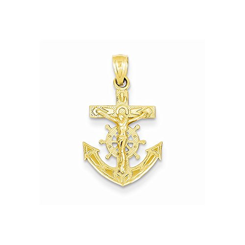 14k Yellow Gold Mariners Cross Crucifix -