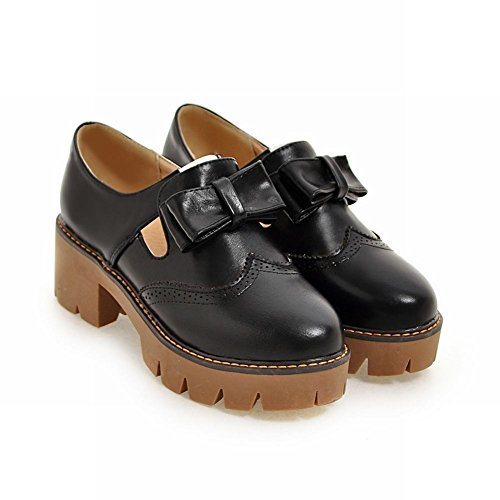 Barnsteen Dames Strikken Retro Mode-platform Med Hak Loafers Schoenen Zwart