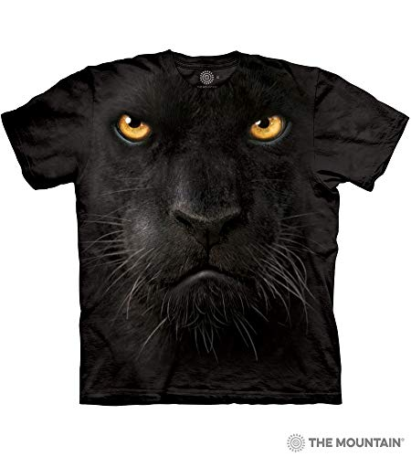 Face Panther (The Mountain Blk Panther Face Adult T-Shirt, Black, Large)
